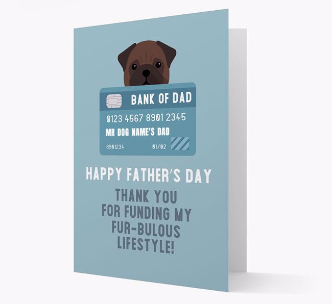 Personalized 'Bank of Dad' Card with Pug Icon