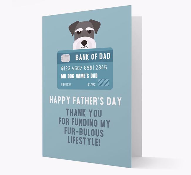 Personalized 'Bank of Dad' Card with Schnauzer Icon