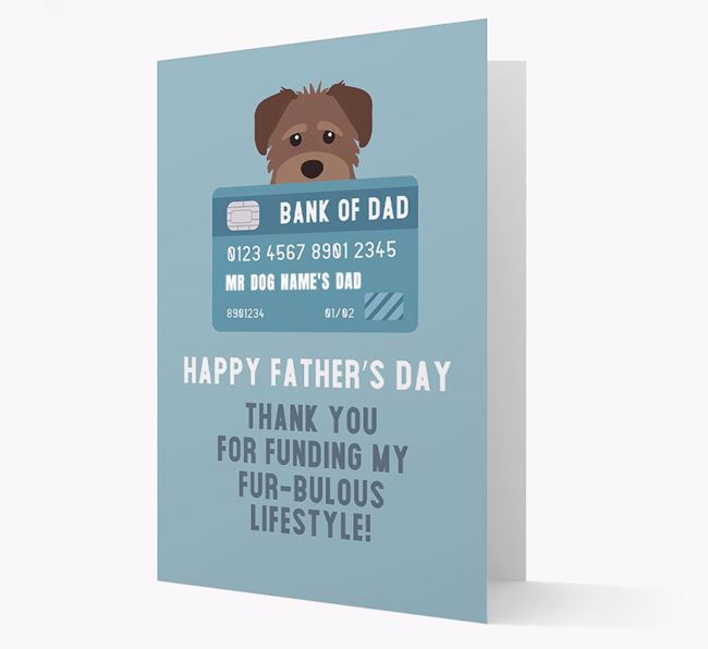 Personalized 'Bank of Dad' Card with Schnoodle Icon
