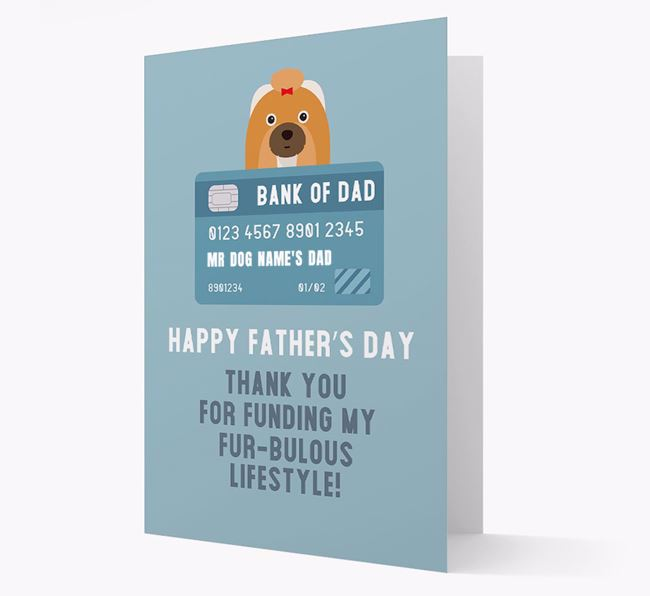 Personalized 'Bank of Dad' Card with Shih Tzu Icon
