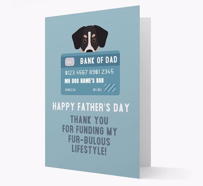 Personalized 'Bank of Dad' Card with Siberian Cocker Icon