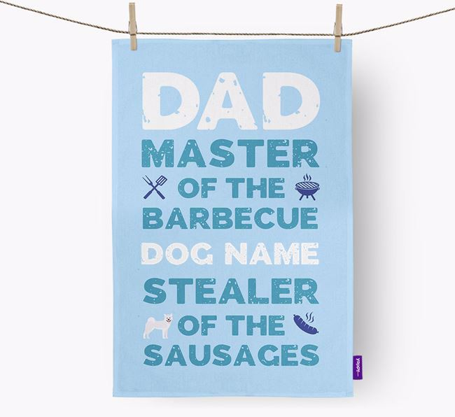 'Master of the Barbecue' Tea Towel with Japanese Akita Icon