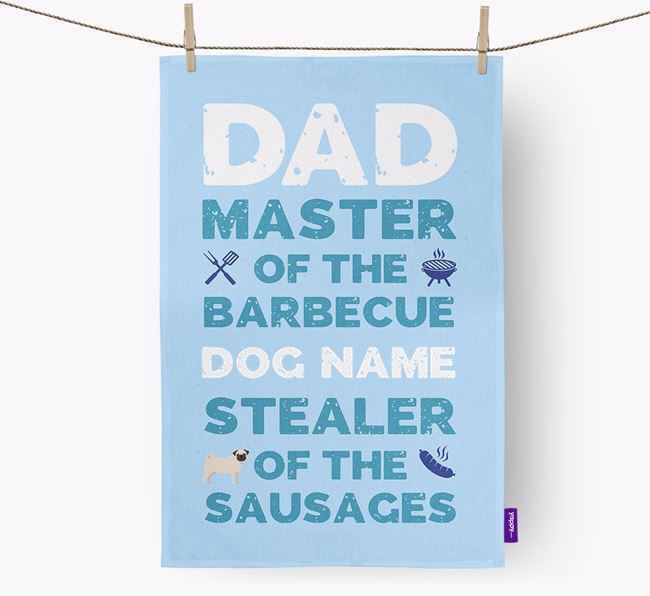 'Master of the Barbecue' Dish Towel with Dog Icon