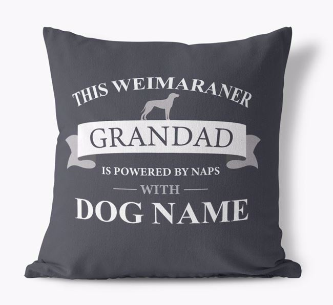 Personalized 'This Dog Grandad is powered by naps with Your Dog' Canvas Pillow with Dog Silhouette