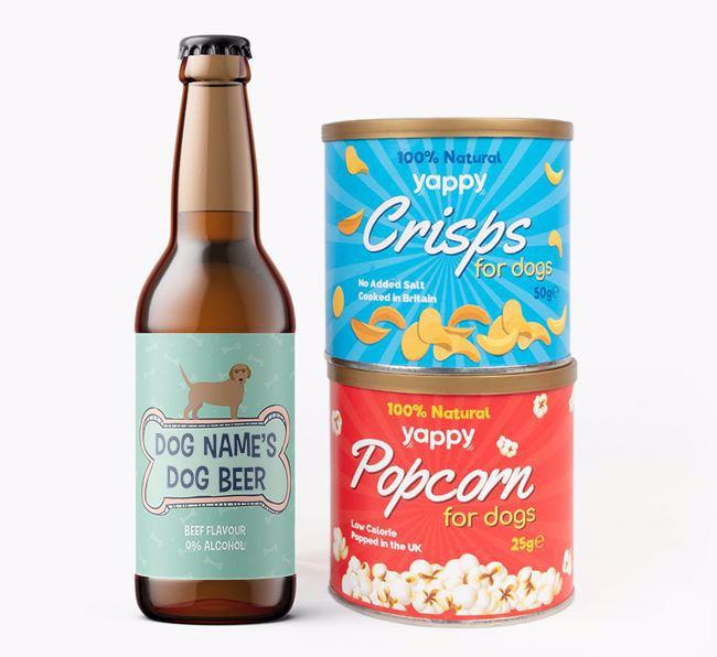 Personalised 'Bones' Basset Fauve Beer Bundle with Crisps & Popcorn