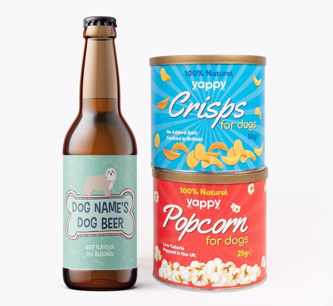 Personalised 'Bones' Bearded Collie Beer Bundle with Crisps & Popcorn