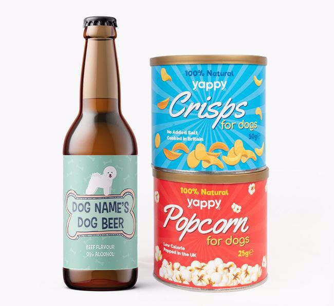 Personalised 'Bones' Bichon Frise Beer Bundle with Crisps & Popcorn