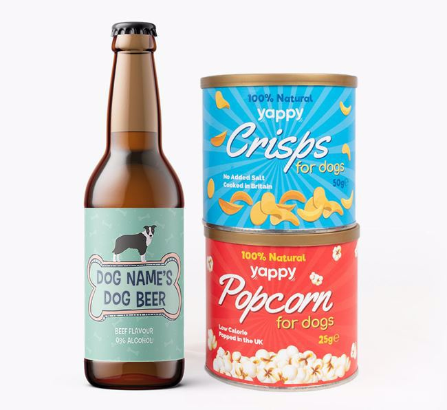 Personalised 'Bones' Border Collie Beer Bundle with Crisps & Popcorn