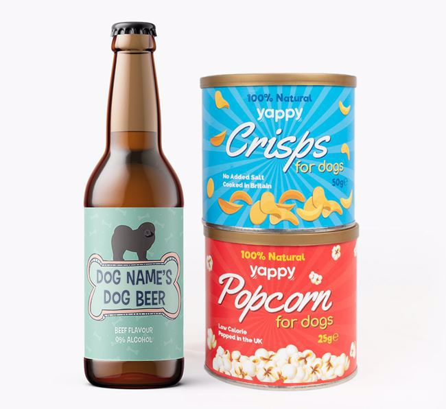 Personalised 'Bones' Chow Chow Beer Bundle with Crisps & Popcorn