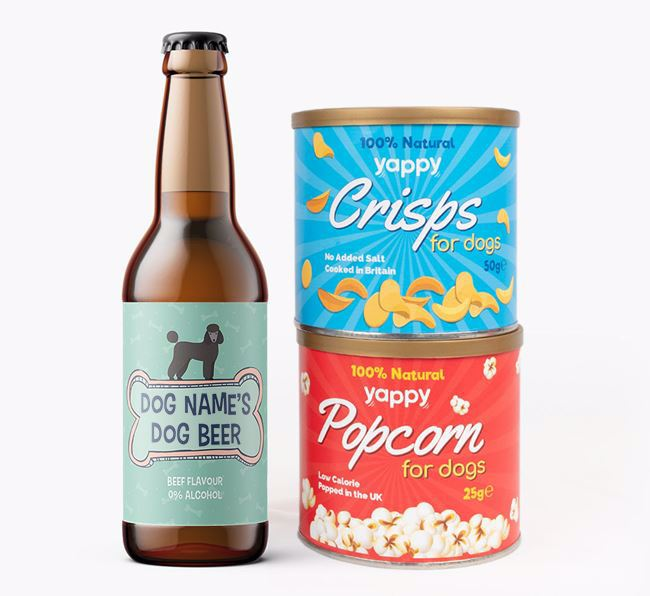 Personalised 'Bones' Poodle Beer Bundle with Crisps & Popcorn