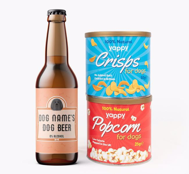 Personalised Bearded Collie Beer Bundle with Crisps & Popcorn