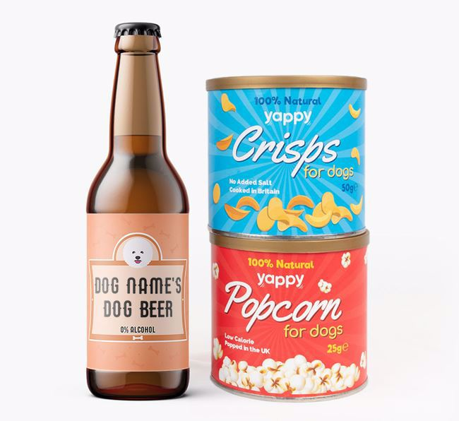 Personalised Bichon Frise Beer Bundle with Crisps & Popcorn