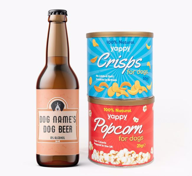 Personalised English Coonhound Beer Bundle with Crisps & Popcorn