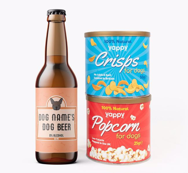 Personalised Frenchie Beer Bundle with Crisps & Popcorn