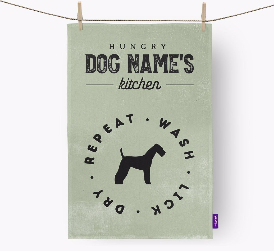 Personalised Airedale Terrier Hungry Kitchen {colour} Tea Towel