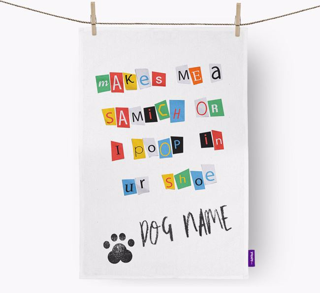 Personalised Ransom Note Dish Towel