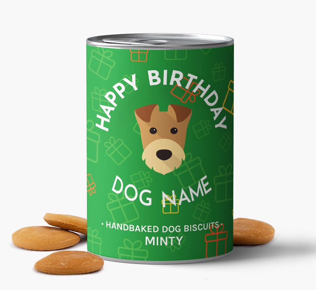 Hand Baked, personalised Airedale Terrier Birthday Biscuits for {dogsName} front view