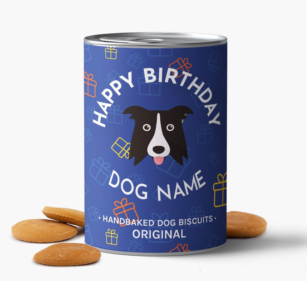 Hand Baked, personalised Border Collie Birthday Biscuits for {dogsName} front view
