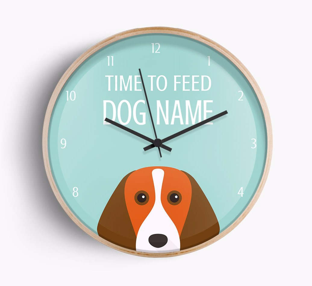 Front Facing Close Up of personalised Beagle 'Time To Feed {dogsName}' clock with {size} frame