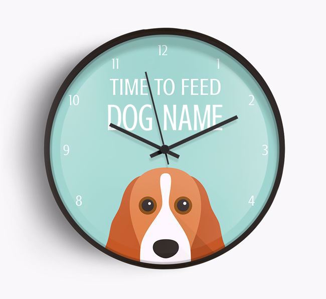 'Time To Feed Your Dog' Beech Wall Clock