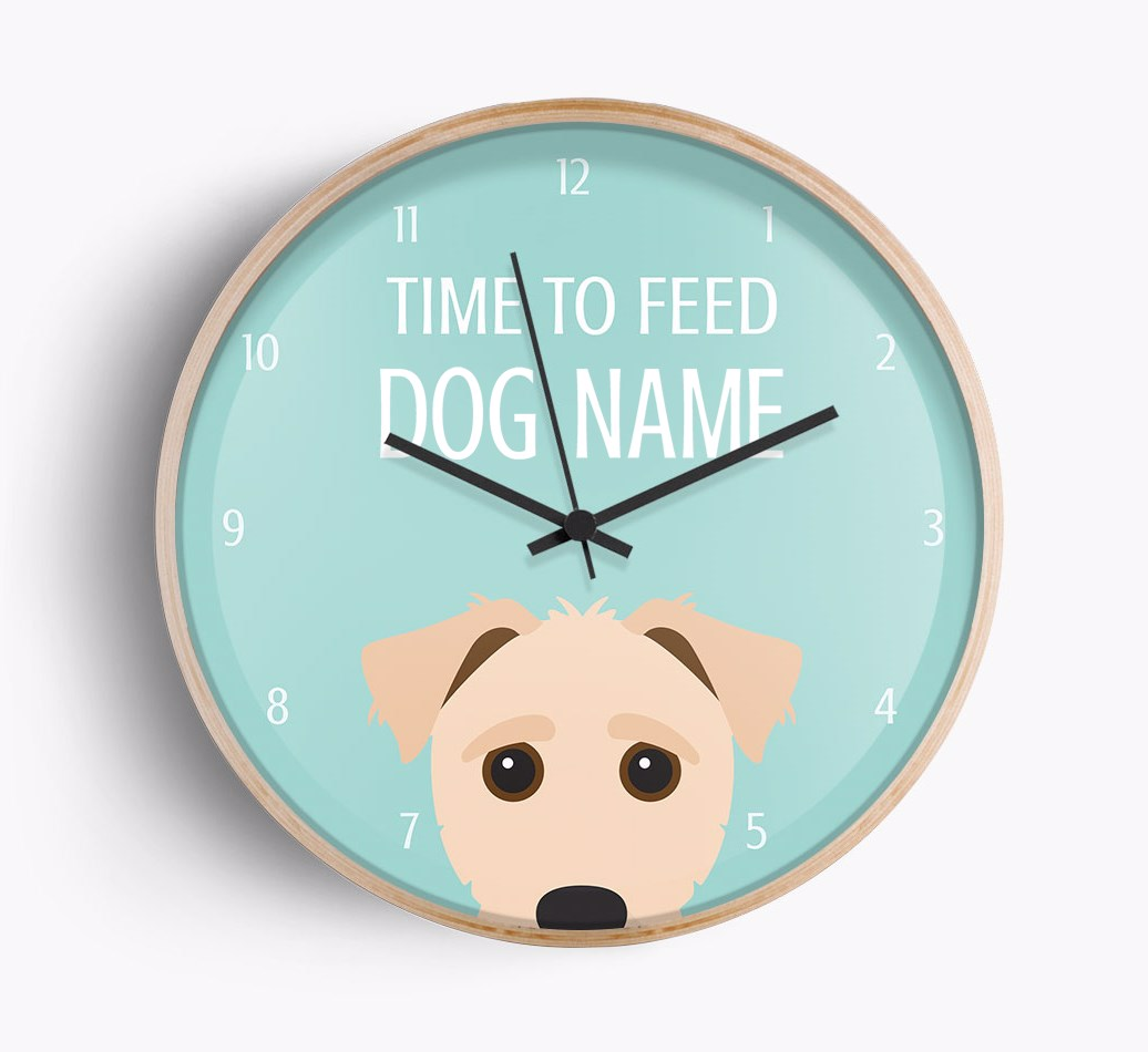 Front Facing Close Up of personalised Jack-a-Poo 'Time To Feed {dogsName}' clock with {size} frame