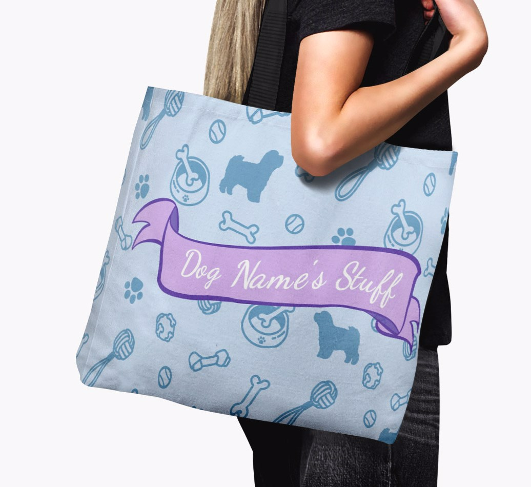 '{dogsName}'s Stuff' Canvas Bag in {colour} held by woman