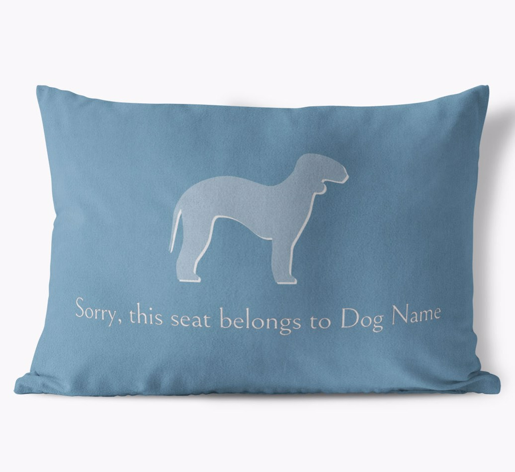 Bedlington Terrier 'This Seat Belongs To...' Faux Suede Cushion in {colour} front view