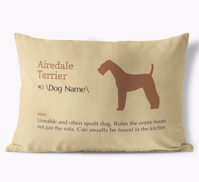 Personalised Airedale Terrier Definition Faux Suede Cushion