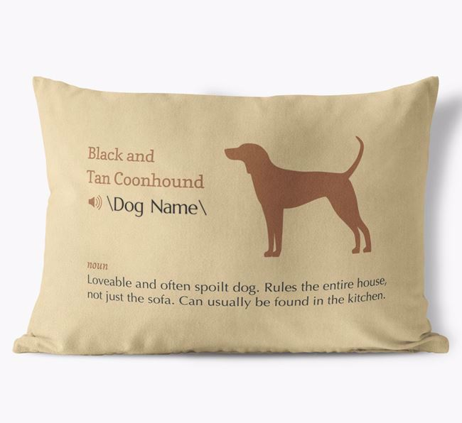 Personalised Black and Tan Coonhound Definition Faux Suede Cushion