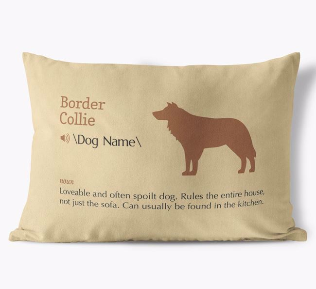 Personalised Border Collie Definition Faux Suede Cushion