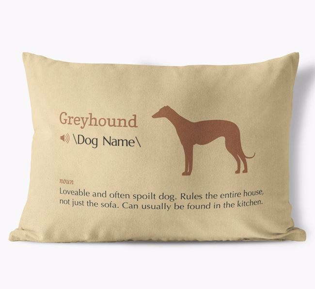 Personalised Greyhound Definition Faux Suede Cushion