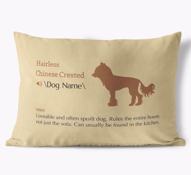 Personalised Hairless Chinese Crested Definition Faux Suede Cushion