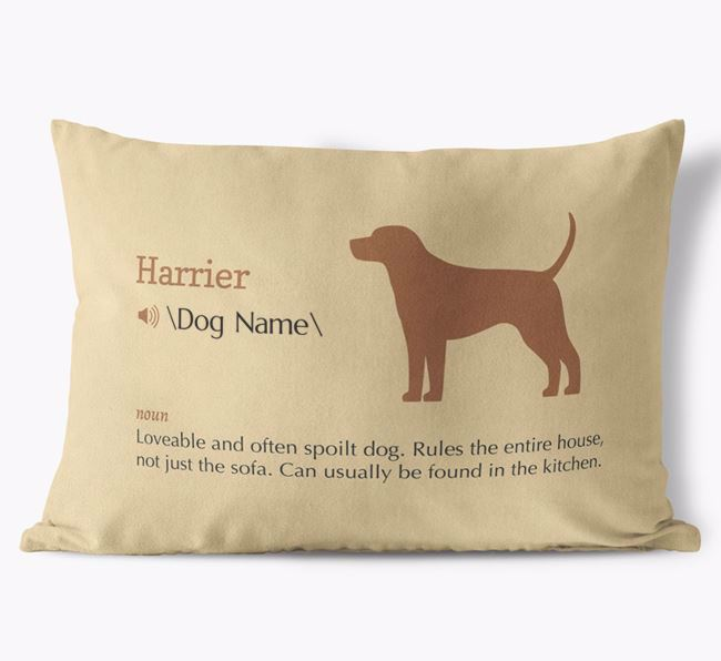 Personalised Harrier Definition Faux Suede Cushion