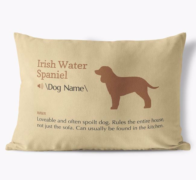 Personalised Irish Water Spaniel Definition Faux Suede Cushion