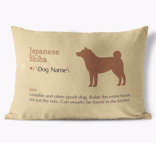 Personalised Japanese Shiba Definition Faux Suede Cushion