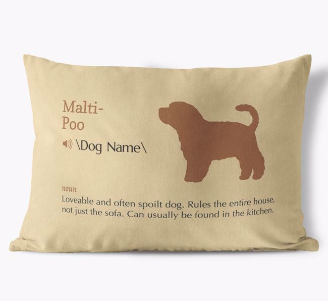 Personalised Malti-Poo Definition Faux Suede Cushion