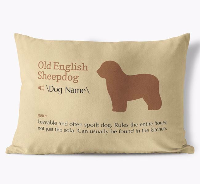 Personalised Old English Sheepdog Definition Faux Suede Cushion