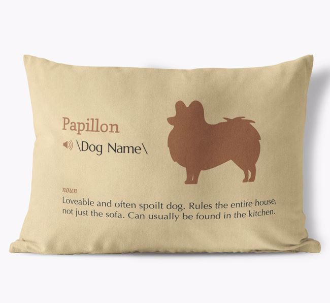Personalised Papillon Definition Faux Suede Cushion