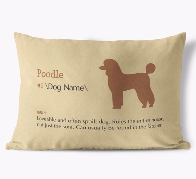 Personalised Poodle Definition Faux Suede Cushion