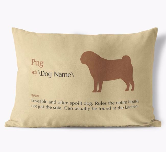 Personalised Pug Definition Faux Suede Cushion