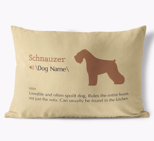 Personalised Schnauzer Definition Faux Suede Cushion