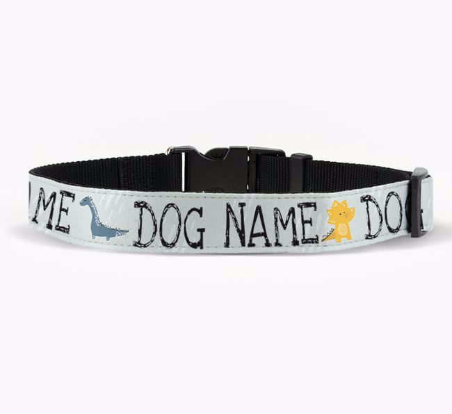 Personalised Fabric Collar with Dinosaurs and Pug Icon for Your Dog