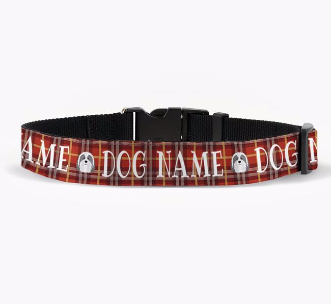 Personalised Fabric Collar with Tartan Pattern and Bearded Collie Icon for Your Dog
