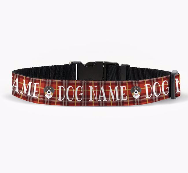 Personalised Fabric Collar with Tartan Pattern and Bernese Mountain Dog Icon for Your Dog