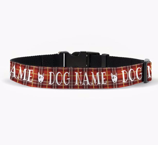 Personalised Fabric Collar with Tartan Pattern and Bull Terrier Icon for Your Dog