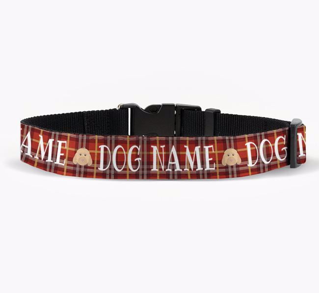 Personalised Fabric Collar with Tartan Pattern and Cockapoo Icon for Your Dog