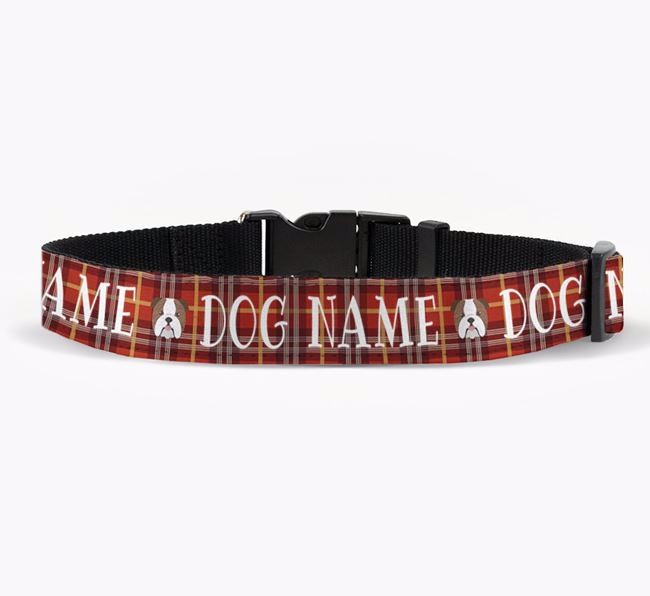 Personalised Fabric Collar with Tartan Pattern and English Bulldog Icon for Your Dog