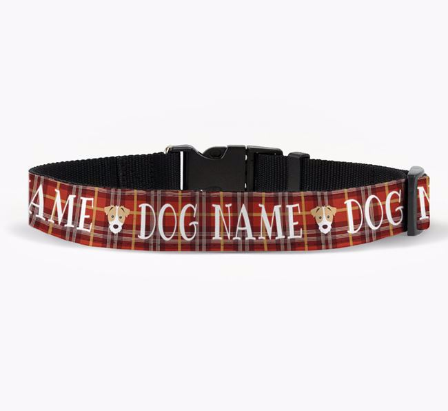 Personalised Fabric Collar with Tartan Pattern and Jack Russell Terrier Icon for Your Dog