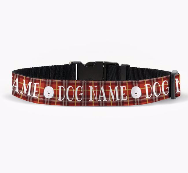 Personalised Fabric Collar with Tartan Pattern and Old English Sheepdog Icon for Your Dog