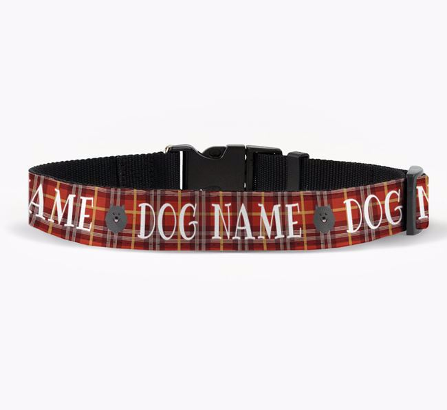 Personalised Fabric Collar with Tartan Pattern and Pomeranian Icon for Your Dog